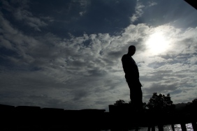 A silhouette from a boatman